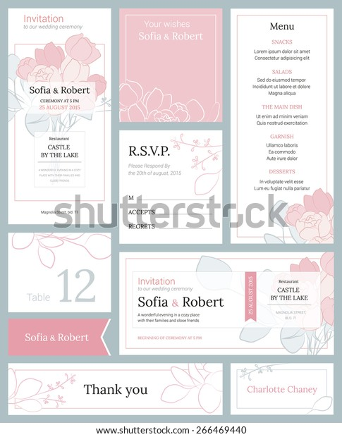 Modern Wedding Set Printed Materials Floral Stock Vector