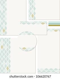 Modern wedding templates: invitation, menu, program, place card, reception/save the date/response card, coaster.