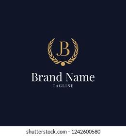 modern wheat JB elegance luxury logo navy blue and gold color, creative minimal JB, BJ, J, B, logo icon design in vector format with letter J B