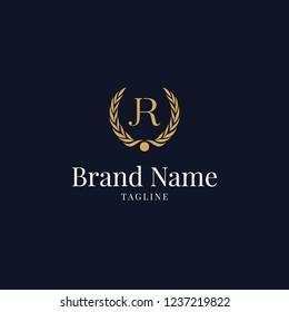 modern wheat JR elegance luxury logo navy blue and gold color, Letter JR Design Template Vector, unique creative minimal fashion brands RJ J R initial based letter icon logo