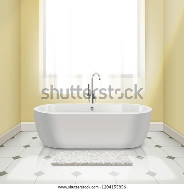 Modern White Bathtub Interior Vector Realistic Stock Vector Royalty Free 1204155856