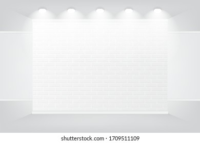 Modern white brick wall studio texture with spotlight for wallpaper,background,gallery,mock up, vector illustration.
