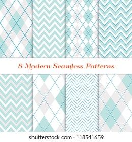 Modern White Christmas Backgrounds. 8 Seamless Chevron and Argyle Patterns in Aqua Blue, Turquoise, White & Silver. Nice background for Scrapbook or Photo Collage. Matching Image ID: 128027708.