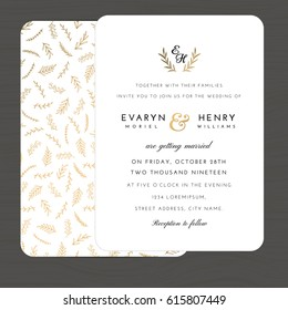 Modern white and gold colors wedding invitation card template decorate with hand drawn leaves floral pattern. Vector illustration.