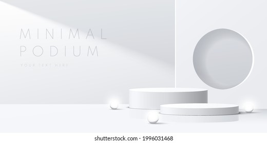 Modern white, gray cylinder pedestal podium with neon sphere ball. Abstract white minimal wall scene. Square backdrop with circle hole in shadow. Vector rendering 3d shape product display presentation