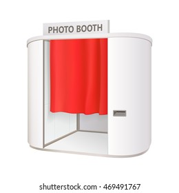 modern white oval photo booth with red curtain isolated on white background vector illustration