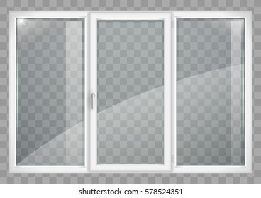 Modern white plastic wide window with a transparency effect for the group with the glass in vector graphics