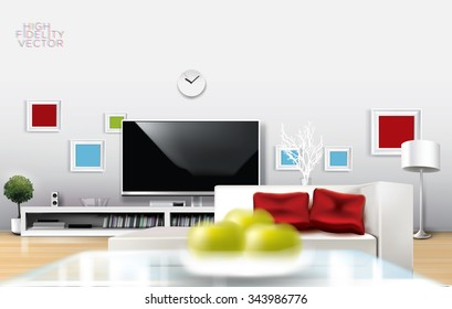 Modern white room with flat TV , low shelf and white couch with red pillows. Rich vector graphic template.