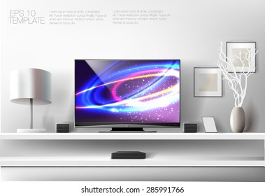 Modern white shelf with flat TV and sound system. Rich vector graphic template.
