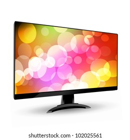 Modern wide screen tv display 3. Isolated on white