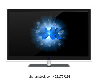 Modern widescreen TV with blue 4K sign on black screen vector template.