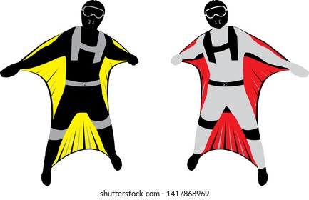 Modern Wing suit flying jumping down. Skydiving vector sport illustration. Extreme sport background. Skydiving wing suit.