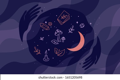 Modern witch. Fortune telling with tarot cards. Spirituality, witchcraft or mystery concept. Magic hands hold sphere with stars, moon, symbolic attributes. Vector illustration for postcard, card cover