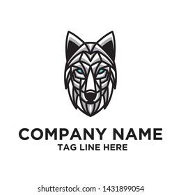 modern wolf logo design vector template