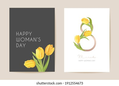 Modern Woman day 8 March holiday card. Spring floral vector illustration. Greeting realistic tulip flowers template, luxury flower background, international women day concept flyer, party design
