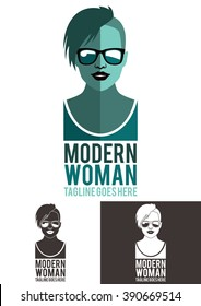 Modern Woman is a modern, elegant and exclusive logo. It represents a modern woman with a hairstyle half-shaved head. It is a logo usable in multiple companies and businesses.