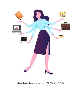 A modern woman with six arms performs many tasks simultaneously. Multitasking businesswoman at work. An active office manager, at the same time is engaged in many tasks, simultaneously performs severa
