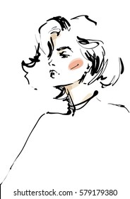 Modern woman sketch. Fashion illustration