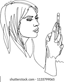 A modern woman with smartphone, finger navigation, attentively looks at screen, holds hand with mobile device, active interesting life, illustration with a continuous line, minimalism.