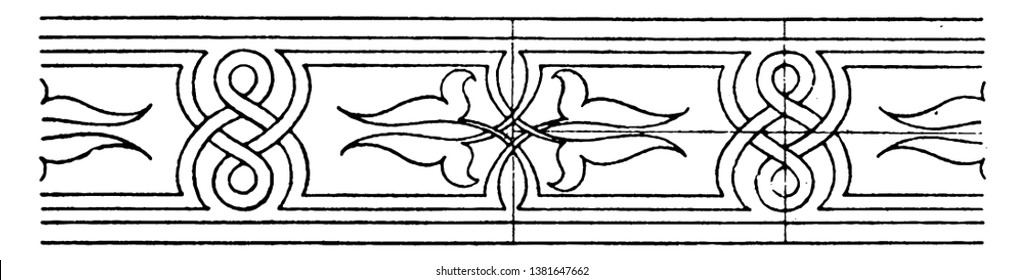 Modern Wood Intarsia Interlacement Band is a design, its made of wood inlaying, vintage line drawing or engraving.