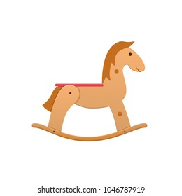 Modern wooden colorful children's toy cartoon horse rocking. Sports, entertaining kids toy. Horse riding, entertainment, swings, carousel. Horseback riding, sitting. Vector illustration isolated.
