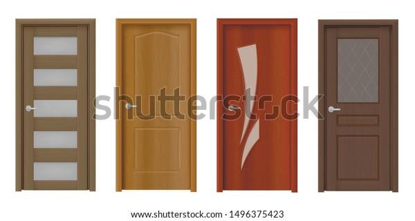 Modern Wooden Door Realistic Vector Illustrations Stock Vector Royalty Free 1496375423