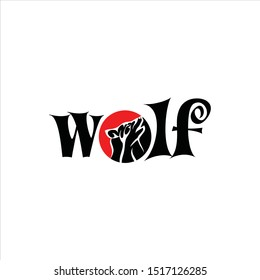 modern wordmark logo for t-shirt. wolf.