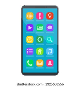 Modern working smartphone with menu icons. Vector illustration, flat style.