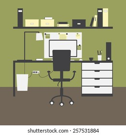 Modern workplace with big table and drawers, chair, lamp, monitor, mouse, cup, shelves, books, boxes, folders, board, notes, bin and green walls and brown floor as background. Flat style illustration