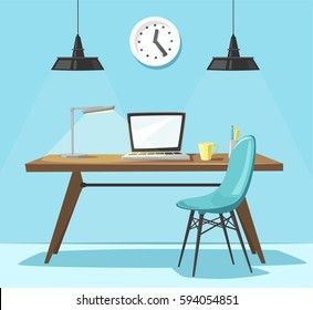 Modern workplace. Office work. Cartoon vector illustration