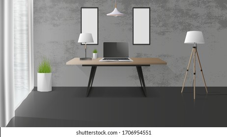 Modern workplace in a stylish loft. Wooden office desk, laptop, table lamp. Office design element. Realistic vector