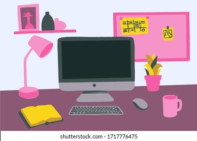Modern workspace vector set with computer desktop, lamp, diary, books, frames and accessories on table. Flat lay front view hand drawn colorful mock up. Home office, freelance concept.
