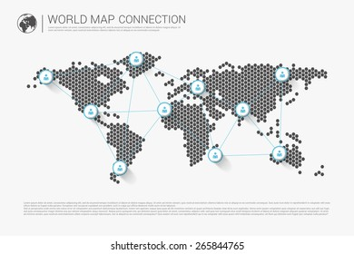Modern world map connection concept. Vector