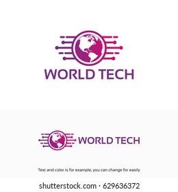Modern World Tech Logo designs template with map symbol