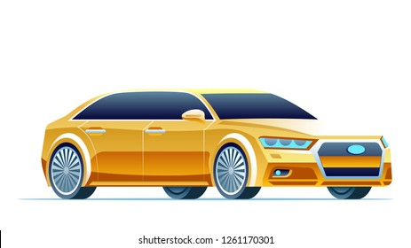Modern Yellow Car. Taxi Vector Illustration. Luxury Corporate Sedan. Public Delivery Service Cab. Side View. Realistic Cartoon Vechile Hybrid. Automobile Isolated on White Background.