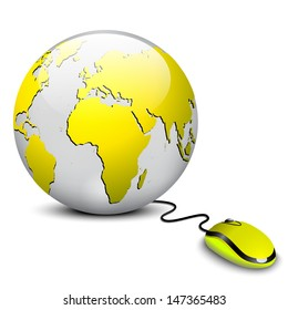 modern yellow computer mice connected to a yellow globe