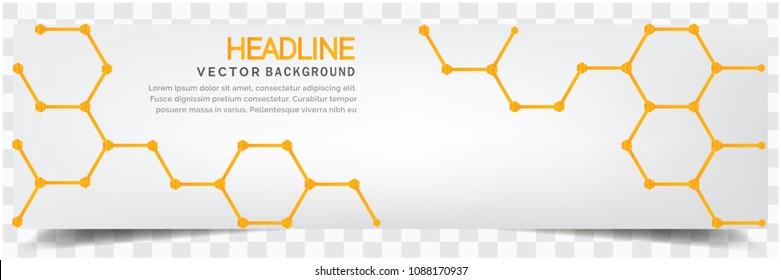 Modern Yellow Honeycomb White Background Headline Vector Image