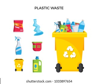 Modern Yellow Recycle Plastic Waste Garbage Bin And Trash Object Illustration Set, Suitable For Illustration, Book Graphics, Icons, Game Asset, And Other Recycle Related Activities.