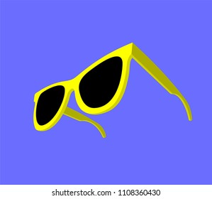 Modern yellow sunglasses on blue background. Vector illustration