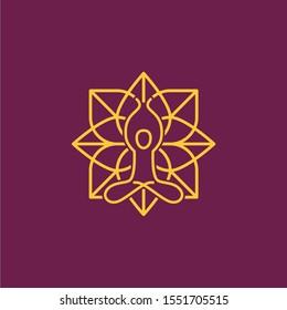 Modern Yoga Mandala Meditation Logo Illustration
