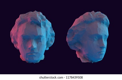 Modern Young Beethoven Bust Head Vector 3D Rendering