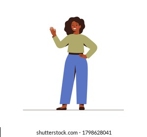 Modern young dark skin businesswoman is waving hand. Smily black girl in casual clothes makes a greeting gesture. Flat vector cartoon illustration isolated on white background