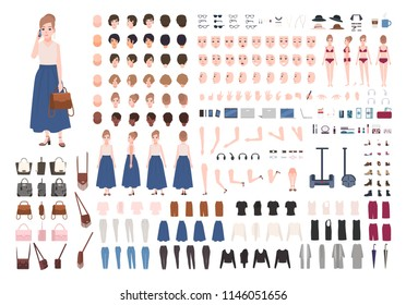 Modern young woman constructor or animation kit. Collection of female character body parts, gestures, stylish clothing, gadgets isolated on white background. Flat cartoon vector illustration