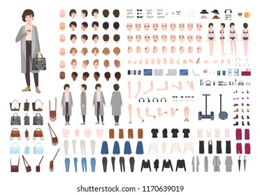 Modern young woman or yuppie animation kit. Collection of female body parts in different postures, haircuts, trendy clothes and accessories isolated on white background. Cartoon vector illustration.