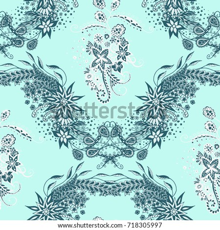 Modern Zendoodle Rapport Seamless Floral Pattern Stock Vector