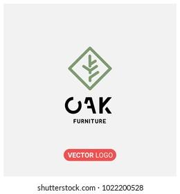 Modern,Flat Oak Furniture Vector Logo Illustration.Premium Quality.