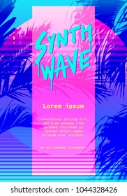 """Modern/retro artistic flyer, poster """"Synthwave"""" super neon colorful 80s/90s style. vector graphic template"""