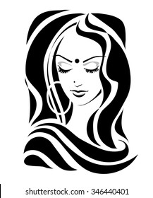 Modest Shy Indian girl with downcast eyes, Tilak dupatta in a retro style. Vector illustration.