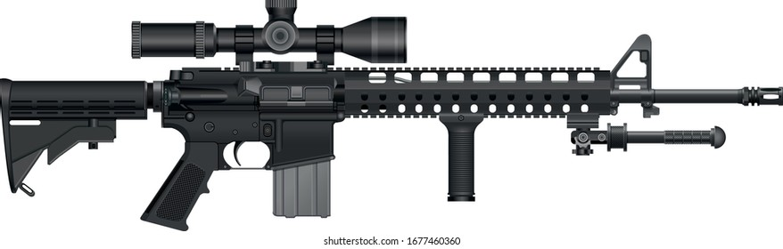 Modified AR-15 rifle with optical sight and bipod