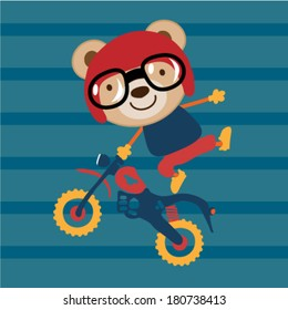 Modified Cross Motorcycle and a cute animal. Vector illustration